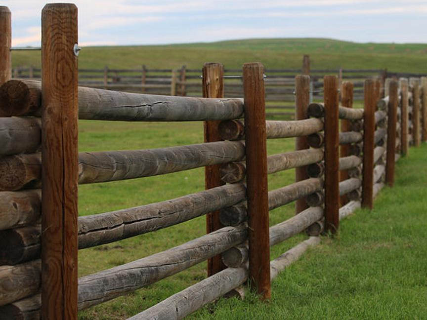 split wood pole fence